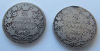 Canada 25 Cents 1905 1909 Silver Quarter Pair Of Edward VII Budget Coins