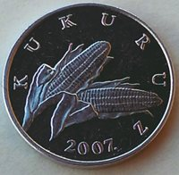 1 Lipa 2007. Croatian text - KUKURUZ, Croatian coin , Aluminium !