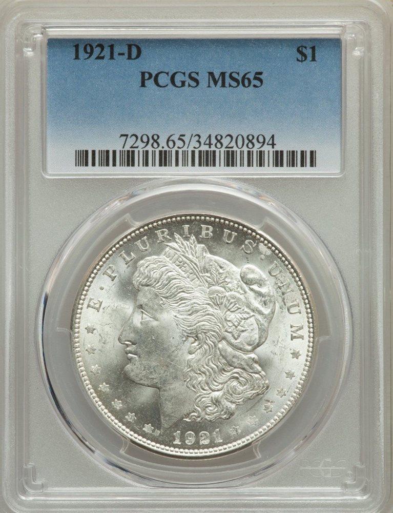 1921 US Morgan Silver Dollar $1 PCGS MS65