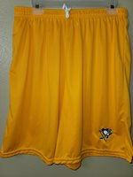 0724 Mens PITTSBURGH PENGUINS Polyester Jersey SHORTS Embroidered GOLD New