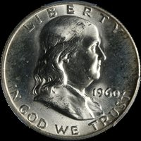 1960-D Franklin Half Dollar PCGS MS64+ Bright White Great Eye Appeal Nice Strike