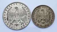 1922-1935 Germany 1 & 3 Marks Coin lot of 2 (Unc-BU) KM # 29, 78
