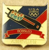 Albertville 1992 Winter Olympic Games Pin USA Bobsled Team