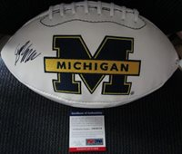 DYLAN McCAFFREY MICHIGAN WOLVERINES SIGNED LOGO FOOTBALL PSA/DNA COA AB59114