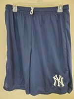 0724 BOYS Majestic NEW YORK YANKEES Jersey Polyester SHORTS Blue New w/Pockets