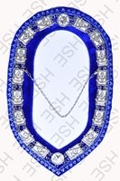 HAND EMBROIDER MASONIC PAST MASTER METAL CHAIN COLLAR ROYAL BLUE VELVET-HSE