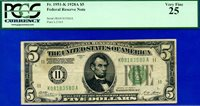 FR-1951-K 1928-A $5 FRN (( DALLAS )) PCGS Very-Fine 25 # K08183580A.