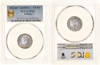 1/8 Birr 1895 (ee 1887) A Äthiopien Coin, Menelik Ii, Paris, Pcgs, Sp63 Silver