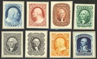 #40-47P2 (1875) 1c - 90c ReprintsComplete Set Small Die Proofs on WoveMounted to Original Roosevelt Album Gray Card BackingCut From Full Album PageResulting in Complete Set of Individual ProofsFRESH Gorgeous SetONLY 85 Sets Were Produced - RARE!Simply Beautiful & Eye Appealing Set