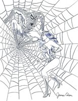 WONDER WOMAN VS SPIDERMAN DETAILED ORIGINAL COMIC ART BY COMIC ARTIST JAMES CHEN