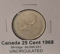 1968 Canada Quarter (base metal) - UNCIRCULATED - from original mint roll