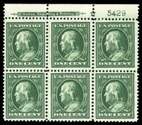 United States1904-9908 1c green, plate block of six, lower right stamp hinged, other six never hinged