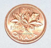 1966 1 Cent Canada Copper Nice Uncirculated