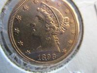 LIBERTY HEAD HALF EAGLE GOLD COIN, $5 GOLD COIN, UNGRADED 1898-S #CHI-01814