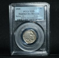 1935-P BUFFALO NICKEL ✪ PCGS VF-30 ✪ 5C DOUBLED DIE REVERSE L@@K NOW ◢TRUSTED◣