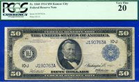 *FR-1060 1914 $50 FRN (( Kansas City Rare )) PMG VF-20 ** Burke-McAdo **J190763A