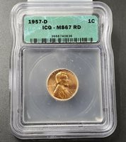 1957 D Lincoln Wheat Cent Penny Coin ICG MS67 RED RD Gem BU Denver