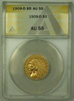 1909-D Indian $5 Half Eagle Gold Coin ANACS AU-55 (B)
