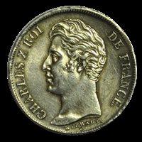 1 franc Charles X, matrice du revers à quatre feuilles 1827 Lille