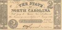 Raleigh State of North Carolina 1861 $2 22 Unl Unl Unl Dated Oct.6, 1861, this R-2 variety has uniform small margins, centering shifted slightly toward top left Unc+