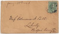CSA #1 Stone 2 Position 45(margins a little irregular) tied by the Yorktown, Va CDS 21JAN (1862). Addressed to Miss Edmonia A. Bett, Liberty, Bedford County,Va. Very clean cover.