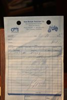 Vintage 1975 Ken Butler Tractor Co. Receipt New Tazewell Tennessee