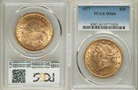 1877 $20 Liberty MS60 PCGS