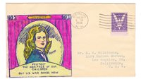 1943 US WWII PATRIOTIC COVER HAND PAINTED AND COLORED CACHET BUY WAR BONDS