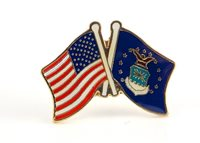 USA & Air Force Flag Friendship Crossed Flags Lapel Hat Pin (Made in USA)