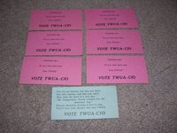 Textile Workers Union of America TWUA-CIO Labor Voting Suggestion Tickets c.1940