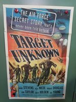 """1951 TARGET UNKNOWN One Sheet Poster 27""""x41"""" Mark Stevens WWII AIR FORCE ACTION"""