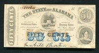 1863 50 CENTS THE STATE OF ALABAMA MONTGOMERY, AL OBSOLETE SCRIP NOTE (C)