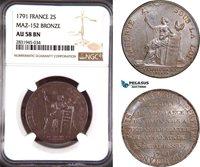 AD445, France, Louis XVI, 2 Sols 1791, Bronze, Maz-152, NGC AU58BN