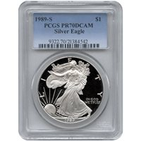 1989-S 1 oz Proof Silver American Eagles PCGS PR70 DCAM