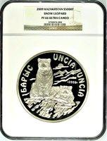 Kazakhstan 2009 Silver Coin 5000 Tenge 1 kilo kg Snow Leopard Барыс NGC PF66
