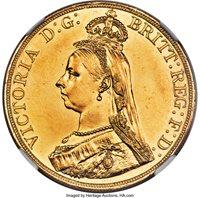 Great Britain: Victoria gold 5 Pounds 1887 UNC Details (Rim Filing) NGC,...