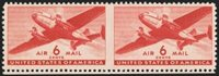 6c Transport, Horizontal Pair, Imperforate Between (C25b). With bottom narrow selvage, small h.r., well-centered, Very Fine, Datz states only 20 pairs are known, with 1965 P.F. certificate