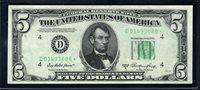 $5 1950A Cleveland F1962D. **STAR**. Priest-Humphrey. Choice Uncirculated. D01493688*.