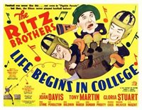 LIFE BEGINS IN COLLEGE great lobby to 8x10 still RITZ BROTHERS -- (lc029)