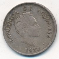 1938 COLOMBIA SILVER 20 CENT PIECE-NICE CIRCULATED SILVER COIN-SHIPS FREE!