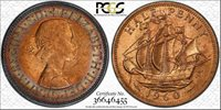 1960 GREAT BRITAIN HALF PENNY PCGS MS64RB CIRCLE RAINBOW TONED IN HIGH GRADE