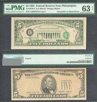 $5 1985 FRN Overprint on Back Error PMG Choice Uncirculated 63