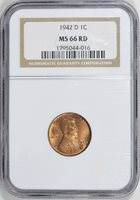 1942-D LINCOLN WHEAT CENT PENNY 1c NGC MS66 RD