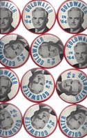 "1964 GOLDWATER IN '64 RED BORDER PICTURE 3 1/2"" CELLO BUTTONS - 12"