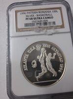 Rare 1996 Romania Silver 100 L Pattern Olympic Basketball NGC PF 68 Ultra Cameo