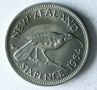 1964 NEW ZEALAND 6 PENCE - AU - Excellent Coin - FREE SHIP - New Zealand Bin B