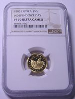 1993 ERITREA INDEPENDENCE DAY $50 Gold NGC PF70UC POP 2/0