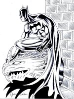 BATMAN ORIGINAL COMIC ART BLACK INK SKETCH 2 ON CARDSTOCK