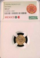 1945 MEXICO GOLD 2 PESOS RESTRIKE NGC MS 67 GREAT LUSTER DOS PESOS TOP POP GEM