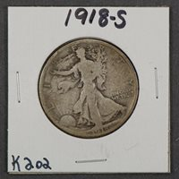 1918-S 50c WALKING LIBERTY HALF DOLLAR LOT#K202